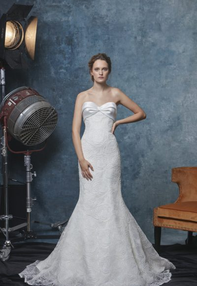 Strapless Textured Fit And Flare Wedding Dress by Sareh Nouri