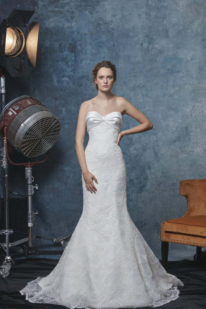Strapless Textured Fit And Flare Wedding Dress by Sareh Nouri - Image 1