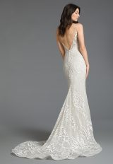 Plunging V-neck Neckline Embroidered Fit And Flare Wedding Dress by Tara Keely - Image 2