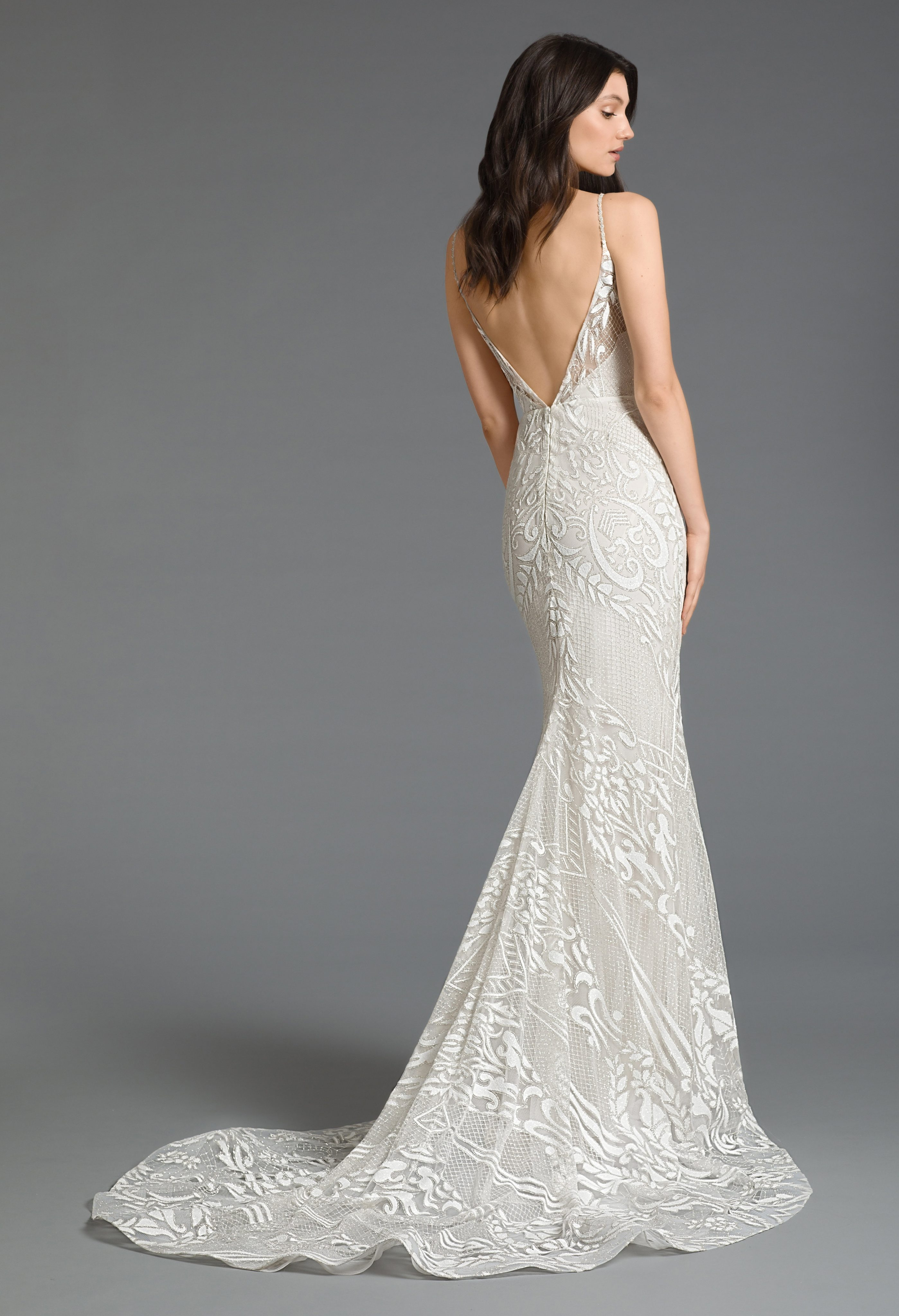 Embroidered Fit And Flare Wedding Dress
