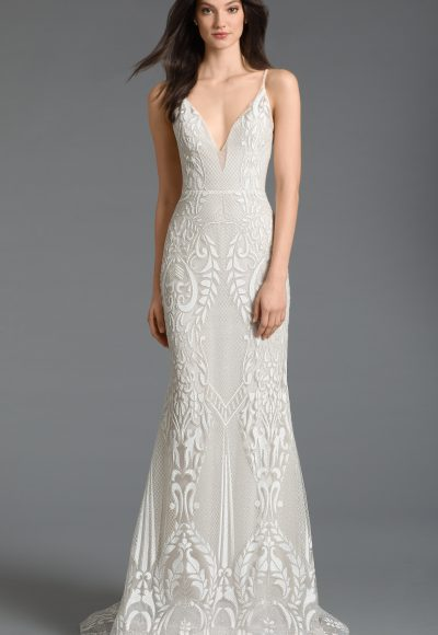 Plunging V-neck Neckline Embroidered Fit And Flare Wedding Dress by Tara Keely