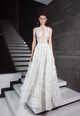 Sleeveless Floral Appliqued A-line Wedding Dress by Tony Ward - Image 1
