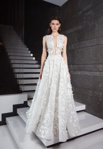 Sleeveless Floral Appliqued A-line Wedding Dress by Tony Ward