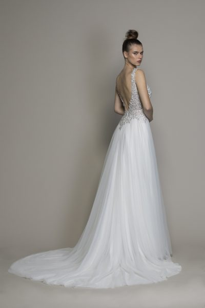 Crystal V-neck Wedding Dress With Tulle Skirt by Love by Pnina Tornai - Image 2