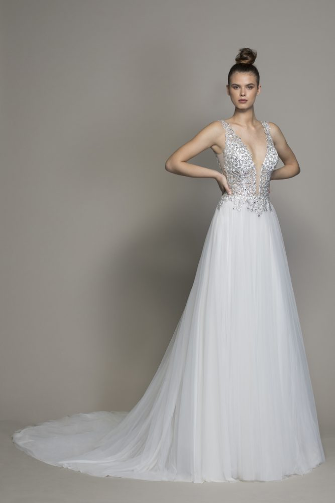Crystal V-neck Wedding Dress With Tulle Skirt by Love by Pnina Tornai - Image 1