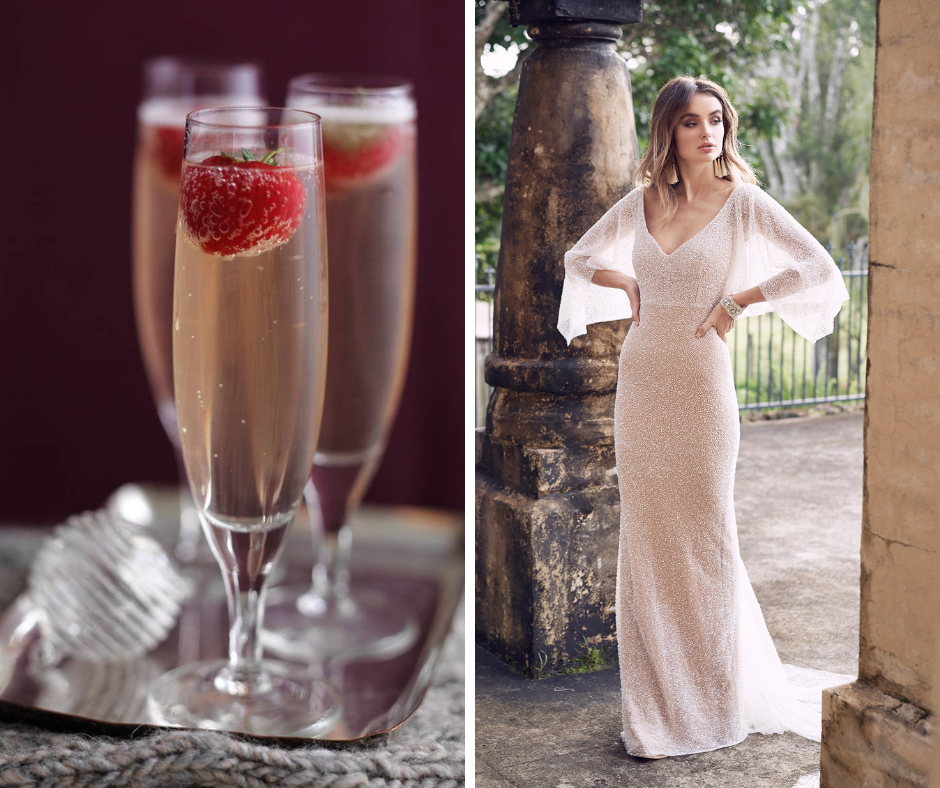 Which cocktail is your favorite? We've paired popular cocktails such as margaritas and martinis with a wedding dress to match! This combo is a Champagne and Strawberries and Anna Campbell Style WANDAFITDR