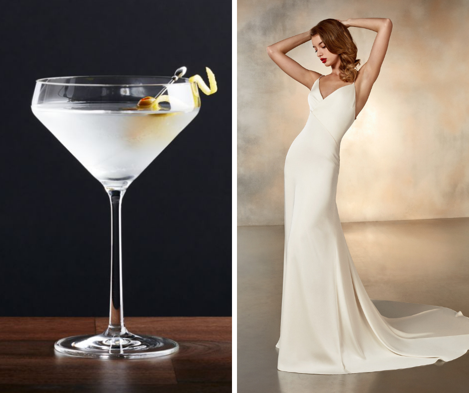 Which cocktail is your favorite? We've paired popular cocktails such as margaritas and martinis with a wedding dress to match! This combo is a Dirty Martini and Pronovias style MOONLIGHT