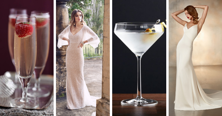 Which cocktail is your favorite? We've paired popular cocktails such as margaritas and martinis with a wedding dress to match!