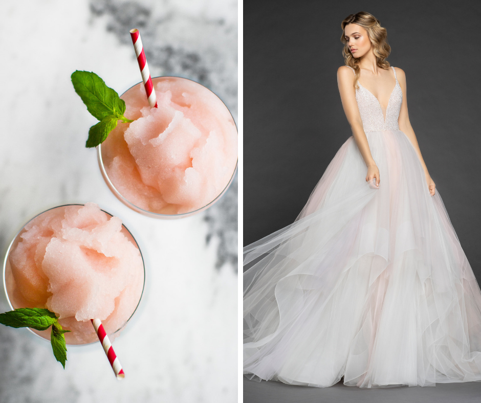 Which cocktail is your favorite? We've paired popular cocktails such as margaritas and martinis with a wedding dress to match! This combo is a Frozé and Hayley Paige Style HENNESSY