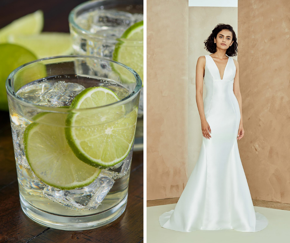 Which cocktail is your favorite? We've paired popular cocktails such as margaritas and martinis with a wedding dress to match! This combo is a Gin and Tonic and Nouvelle Amsale Style LIDIA