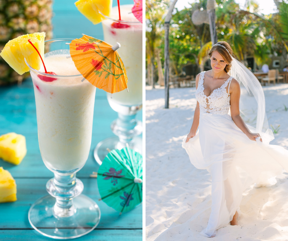 Which cocktail is your favorite? We've paired popular cocktails such as margaritas and martinis with a wedding dress to match! This combo is a Pina Colada and Maison Signore Style FAUNA
