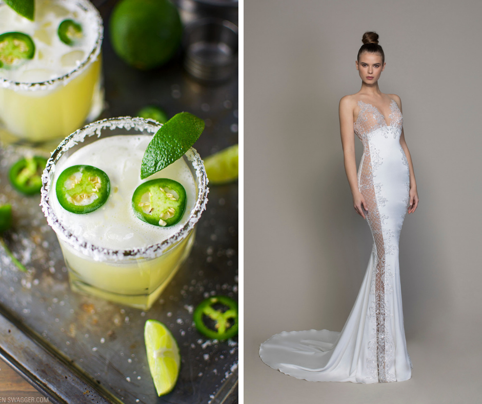 Which cocktail is your favorite? We've paired popular cocktails such as margaritas and martinis with a wedding dress to match! This combo is a Spicy Margartia and LOVE by Pnina Tornai Style 14768