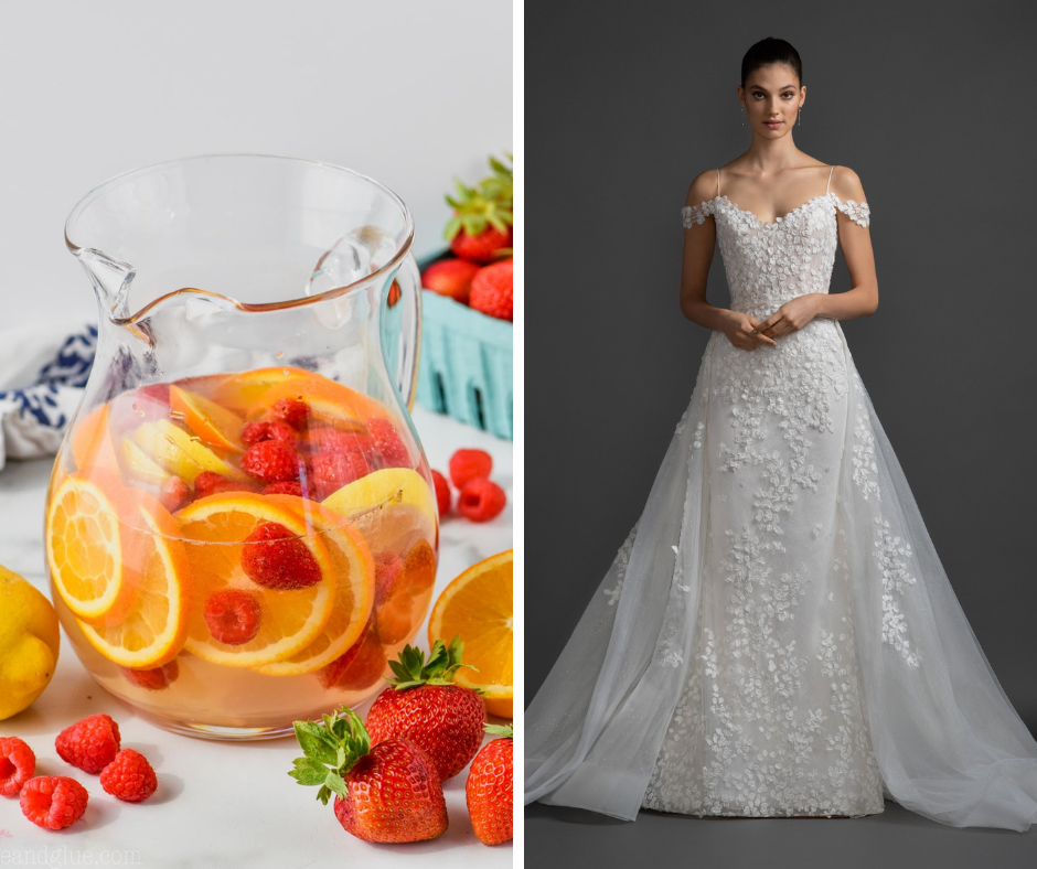 Which cocktail is your favorite? We've paired popular cocktails such as margaritas and martinis with a wedding dress to match! This combo is a White Sangria and Lazaro Style OLIVIA