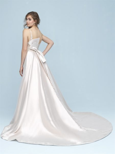 V-neck Silk A-line Wedding Dress by Allure Bridals - Image 2