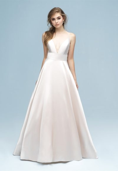 V-neck Silk A-line Wedding Dress by Allure Bridals