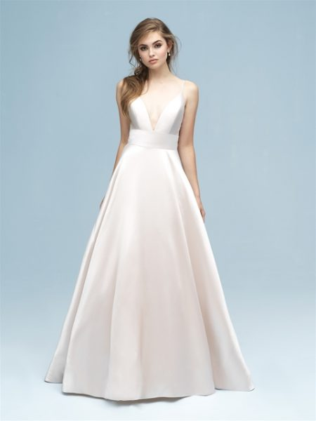 V-neck Silk A-line Wedding Dress by Allure Bridals - Image 1