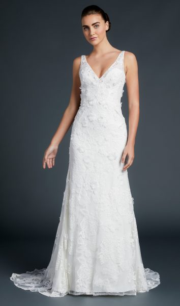 V-neck A-line With Floral Appliques by Anne Barge - Image 1