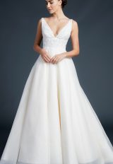 V-neck Lace Bodice Silk Organza Wedding Dress by Anne Barge - Image 1