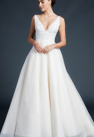 V-neck Lace Bodice Silk Organza Wedding Dress by Anne Barge