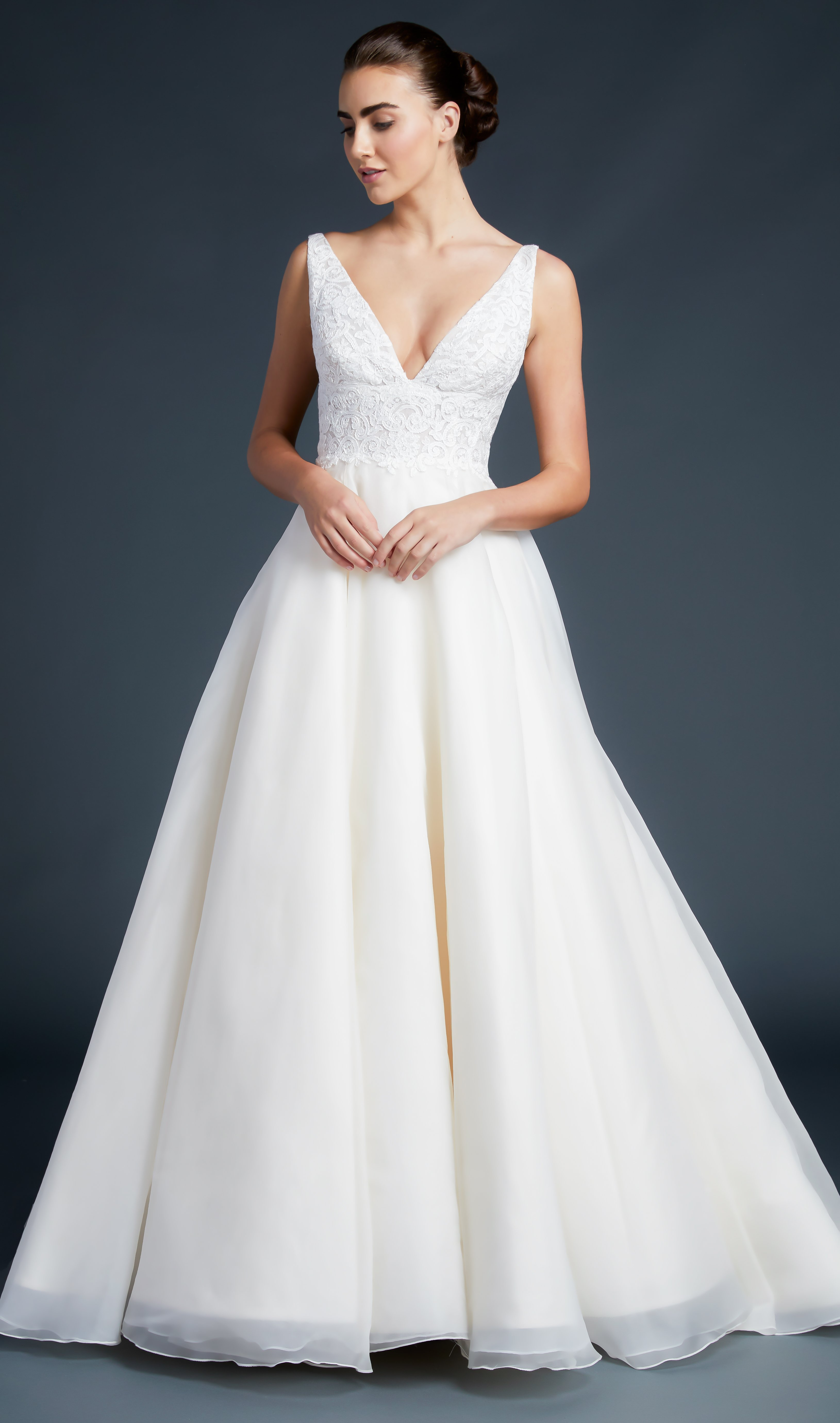 V Neck Lace Bodice Silk Organza Wedding Dress