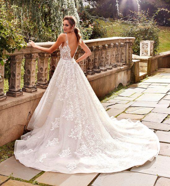 A-line Lace V-neck Wedding Dress by Eve of Milady - Image 2