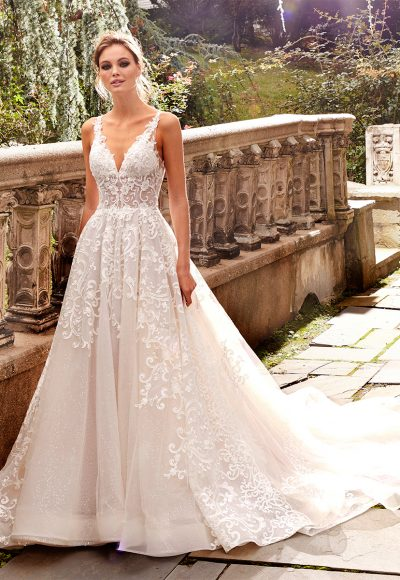 A-line Lace V-neck Wedding Dress by Eve of Milady