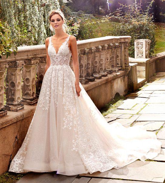A-line Lace V-neck Wedding Dress by Eve of Milady - Image 1