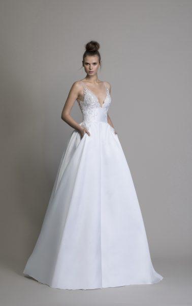 A-line Silk V-neck Wedding Dress by Love by Pnina Tornai - Image 1
