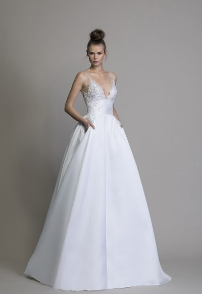 A-line Silk V-neck Wedding Dress by Love by Pnina Tornai