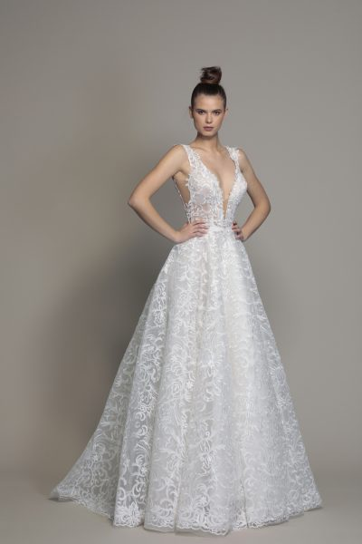 A-line Sleeveless Lace Wedding Dress by Love by Pnina Tornai - Image 1