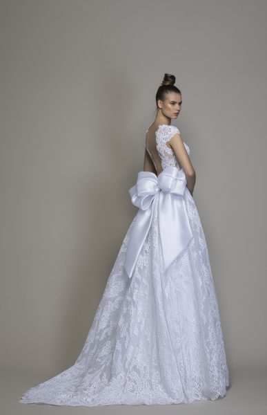All Over Lace A Line Wedding Dress With Cap Sleeves And Bow