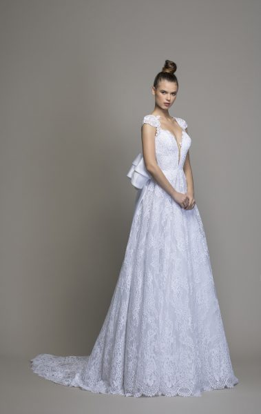 All Over Lace A-line Wedding Dress With Cap Sleeves And Bow by Love by Pnina Tornai - Image 1