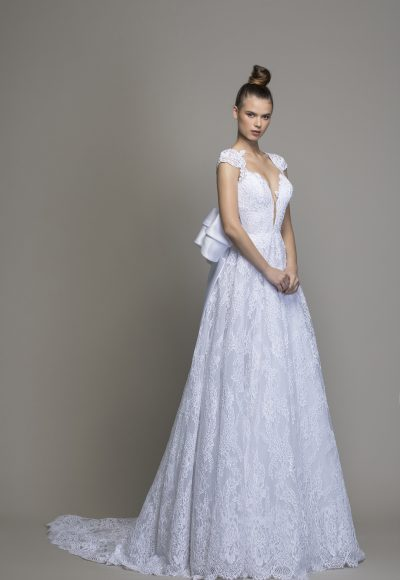 All Over Lace A-line Wedding Dress With Cap Sleeves And Bow by Love by Pnina Tornai