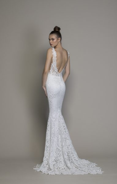 All Over Lace V-neck Sequin Applique Fit And Flare Wedding Dress by Love by Pnina Tornai - Image 2