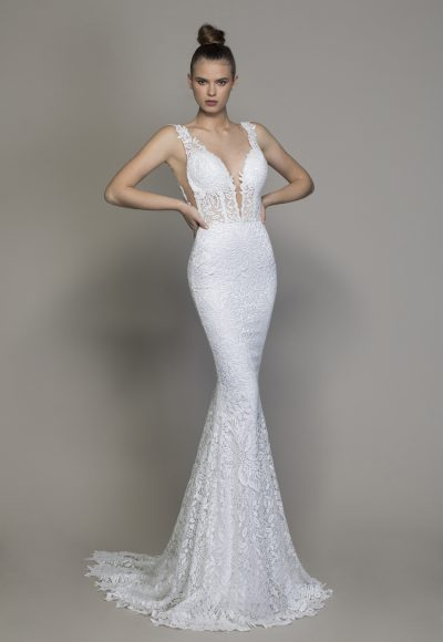 All Over Lace V-neck Sequin Applique Fit And Flare Wedding Dress by Love by Pnina Tornai