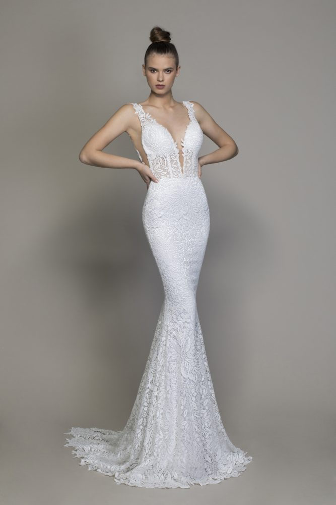 All Over Lace V-neck Sequin Applique Fit And Flare Wedding Dress by Love by Pnina Tornai - Image 1