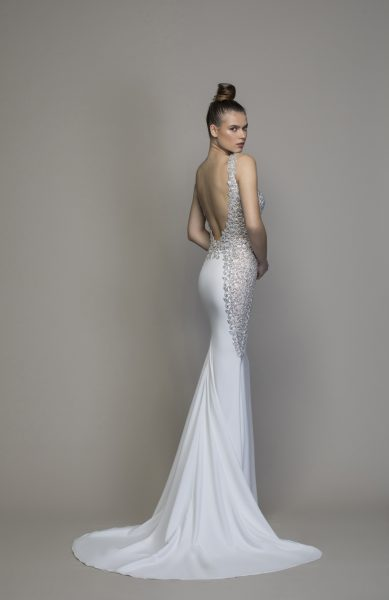 Crepe Sheath Wedding Dress With Crystal Embellishments by Love by Pnina Tornai - Image 2