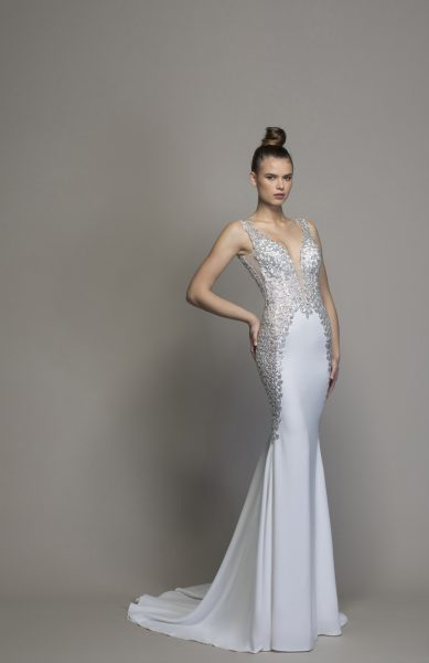Crepe Sheath Wedding Dress With Crystal Embellishments by Love by Pnina Tornai - Image 1