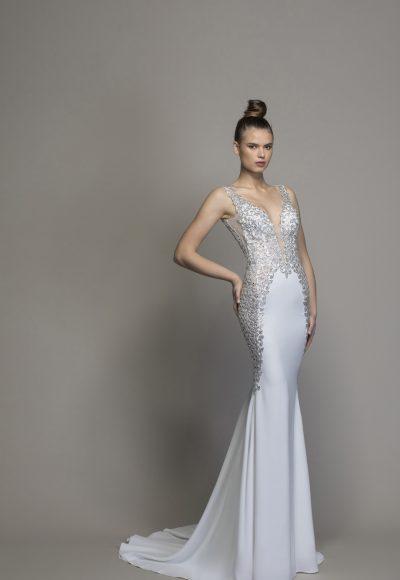 Crepe Sheath Wedding Dress With Crystal Embellishments by Love by Pnina Tornai