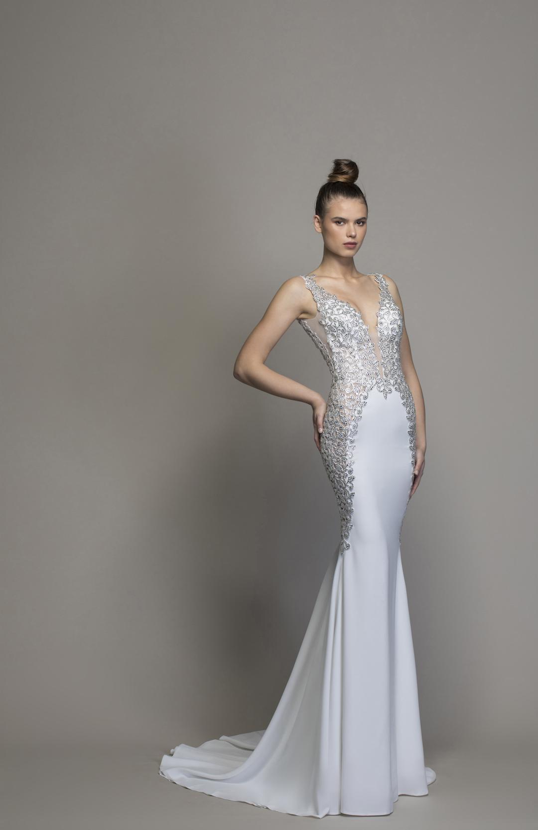 Crepe Sheath Wedding Dress With Crystal Embellishments