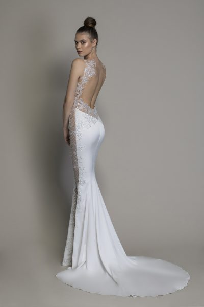 Crepe Sheath Wedding Dress With Sheer Micro-sequin Lattice Cutouts At Sides by Love by Pnina Tornai - Image 2