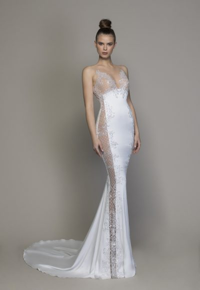 Crepe Sheath Wedding Dress With Sheer Micro-sequin Lattice Cutouts At Sides by Love by Pnina Tornai