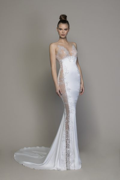 Crepe Sheath Wedding Dress With Sheer Micro-sequin Lattice Cutouts At Sides by Love by Pnina Tornai - Image 1