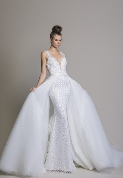 Detachable Overskirt With Lace Applique by Love by Pnina Tornai