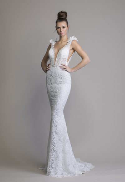 Fit To Flare Lace Sleeveless Wedding Dress by Love by Pnina Tornai
