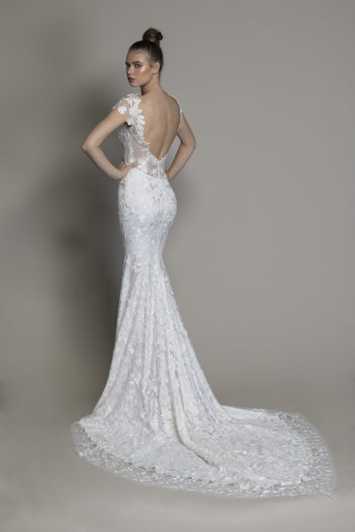 Floral Lace Cap Sleeve Fit And Flare Wedding Gown by Love by Pnina Tornai - Image 2