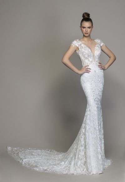 Floral Lace Cap Sleeve Fit And Flare Wedding Gown by Love by Pnina Tornai