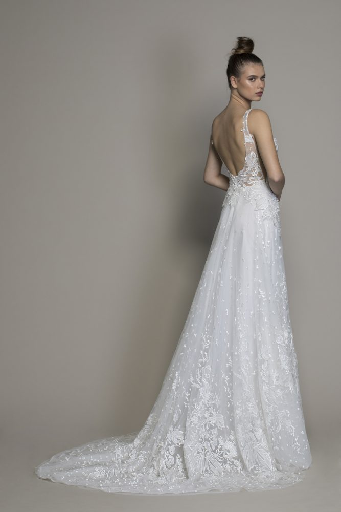 Guipure Lace Sheath Wedding Dress With Plunging V-neckline by Love by Pnina Tornai - Image 2