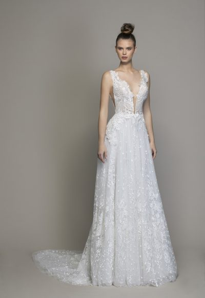 Guipure Lace Sheath Wedding Dress With Plunging V-neckline by Love by Pnina Tornai