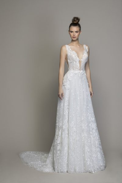 Guipure Lace Sheath Wedding Dress With Plunging V-neckline by Love by Pnina Tornai - Image 1